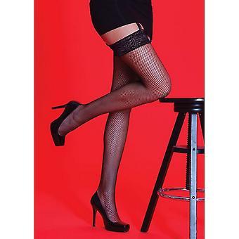 Mătăsos Femei / Doamnelor Scarlet Fishnet Dantelă Ciorapi de top (1 pereche)