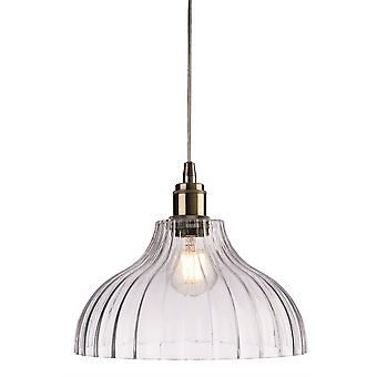Firstlight Victory - 1 Light Dome Ceiling Pendant Antique Brass, Clear Glass, E27