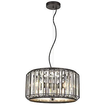 Lenteverlichting - 3 lichte plafondhanger Zwart, Helder met kristallen, E27