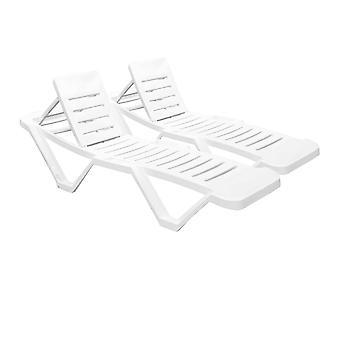Resol Master Garden Sun Lounger Bed - Adjustable Reclining Outdoor Summer Furniture - White - Pack of 2