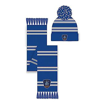 Harry Potter Slytherin Cappello & Sciarpa Set Unisex Blu/Grigio (SG-HPTR-003)