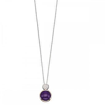 Elements Silver Purple Agate Rose Gold Plate Pave Zirconia Drop Pendant P4547M