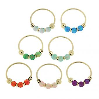 9K Yellow Gold Rainbow  Opal Stones Hoop Nose Ring