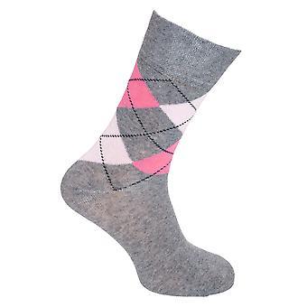 Cottonique Womens/Ladies Comfort Fit Argyle Socks (6 Pairs)