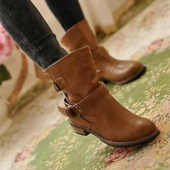 Women Winter Motorcycle Superstar Buckle Boots, Fashion Classic Pu Leather
