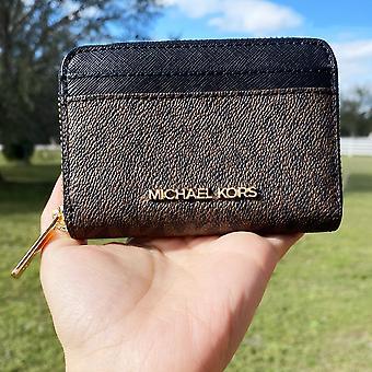 Michael kors jet set travel zip around card case wallet brown mk black