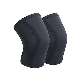 L tamaño negro material de buceo neopreno baloncesto corriendo almohadillas de rodilla fitness,