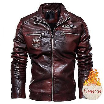 Men Autumn Casual Motor Distressed Leather Jacket Coat