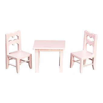 Dolls House Child & s Pink Table & Chaises Miniature School Nursery Furniture 01:12