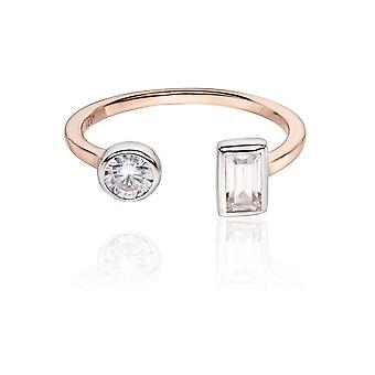 Fiorelli Silver Womens 925 Sterling Silver Rose Guld Plätering Cubic Zirconia Ring