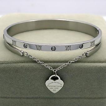 Luxury Hanging Heart Label Forever Love Titanium Steel Bangle & Bracelet
