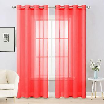 Plain Voile Curtain Pair 2 Panels Lucy Eyelet Ring Top Heading - Net & Voile