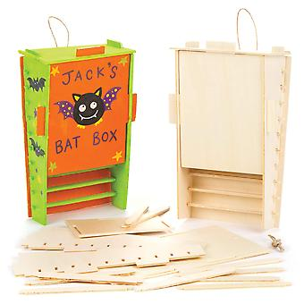 Baker ross houten vleermuis box kits bulk pack, perfect voor kinderen om te ontwerpen en te versieren, ideaal voor sch