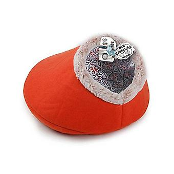 Igloo Cat Bed Reversible Cave Orange Retro Fabric Felt Vintage