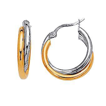 14K geel en wit goud tweetonige dubbele hoepel oorbellen, Diameter 24mm