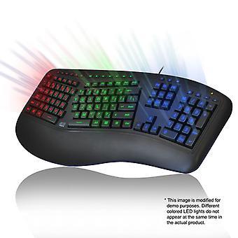 Farbbeleuchtete ergonomische Tastatur