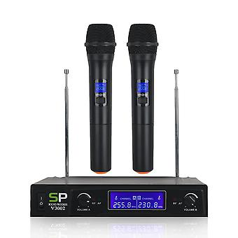 V3002 VHF Wireless Microphone System 2PCS Handheld LCD Mic with 2 CH Receiver
