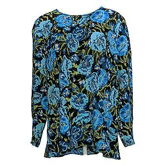 Du Jour Mujeres's Larga Slv Impreso Camiseta Tejida/Detalle Abrasado Azul A345231