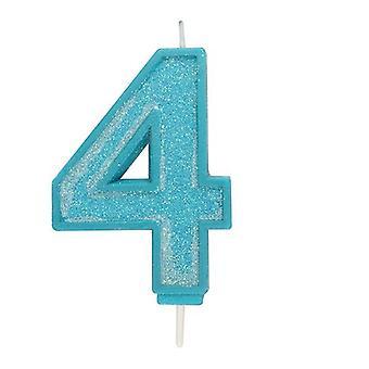 Sininen kimalteleva numerokynttilä - numero 4 - 70mm