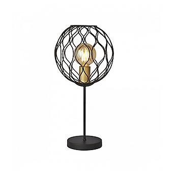 Lámpara De Mesa Delicadeza 1 Bombilla Con Abrazadera Ondulada - Negro Con Mangas De Oro