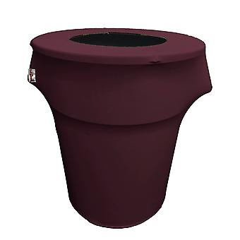 La Linen Stretch Spandex Trash Can Cover 55-Gallon Round, Aubergine
