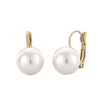 Traveller Drop Earrings Leverback Gold plated Swarovski Pearl 12mm white - 700612