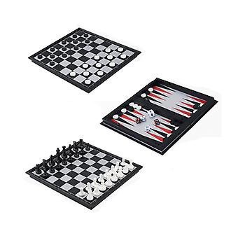 Chess, Checkers & Backgammon Set, Travel Game Magnetic Pieces Folding Board