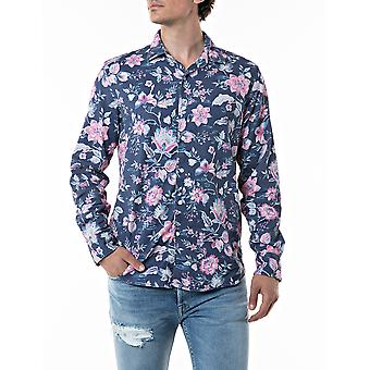 Replay Homme's Shirt Floral -Rose