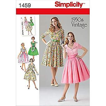 Yksinkertaisuus Ompelu kuvio 1459 Misses 1950's Vintage Mekko Koko 16-24
