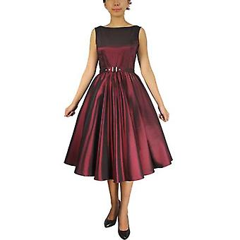 Chic Star Satin Sleeveless Belted Dress In Burgundy