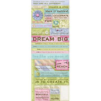 K & Co - AB Sola Quilted Words Embossed Stickers