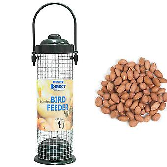 1 x Simply Direct Value Plastic Wild Bird Nut Feeder with 1KG bag of Peanut Feed