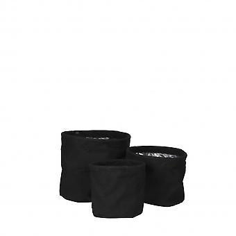 blumentöpfe Flexi rund 18 cm Polyester schwarz 3-teilig