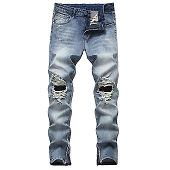 Mile Men's Ripped Straight Pants Jeans, Trousers Zipper Design, Simple Casual Style