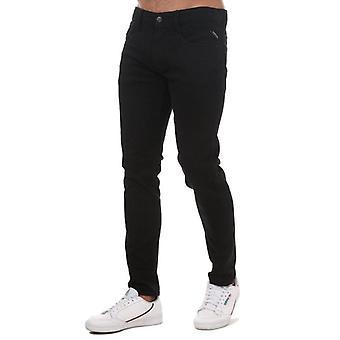 Replay men's black anbass slim fit jeans