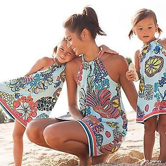 Mother Daughter Floral Beach And Party Wear Short Dresses