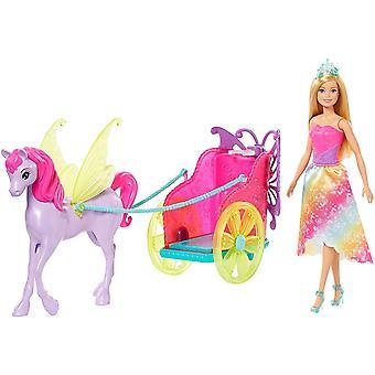 GJK53 - Dreamtopia Prinzessin Puppe mit Fantasie Pferd und Kutsche, Spielzeug ab 3 Jahre