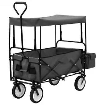 vidaXL chariot à main avec toit en acier gris
