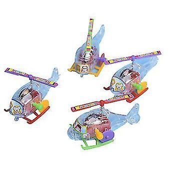 10Pcs طائرة هليكوبتر صغيرة clockwork لف الطائرات بدون طيار الاطفال لعبة x1581
