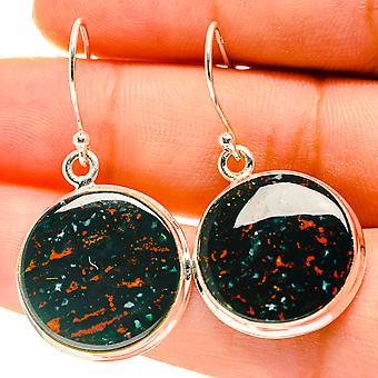"""Bloodstone Earrings 1 1/2"""" (925 Sterling Silver)  - Handmade Boho Vintage Jewelry EARR417140"""