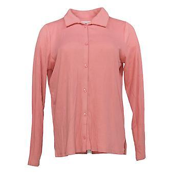 Enhver Kvinders Top Hyggelig Strik Collared Rib Button Front Top Pink A367698