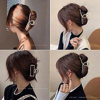 2pcs Elegant Gold Hollow Geometric Metal Hair Claw Vintage Hair Clips Headband Hairpin Fashion Hair