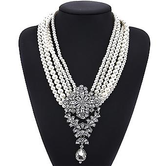 Women Necklace Multilayered Pearl Crystal Gem Alloy Pendant For Birthday Gift