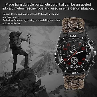 Pulseira multifuncional ao ar livre 6 em 1 pulseira de relógio de sobrevivência com design de tecelagem
