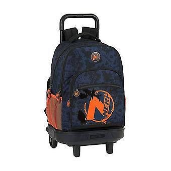 School Rucksack with Wheels Compact Nerf Navy Blue