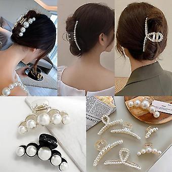 Ženy Kórejská čierna biela barrette big pearls vlasy klip pazúry