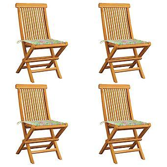 vidaXL sillas de jardín con cojines de patrón de hojas 4 piezas de teca de madera maciza