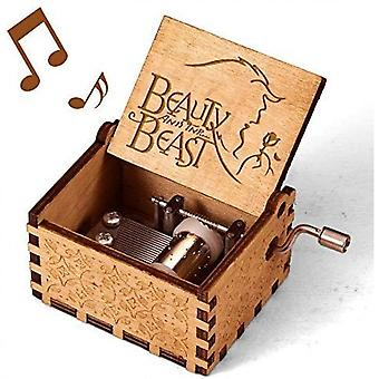 Beauty And The Beast Music Box, Vintage Classic Wood Hand Crank Carved
