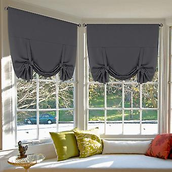 2X roman curtains tie up blockout curtains for small window blackout curtains rod pocket window draperies / shade, charcoal grey