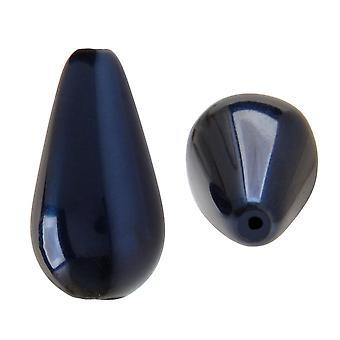 Preciosa كريستال Nacre بيرل، الكمثرى 15x8mm، 6 قطع، الأزرق الداكن